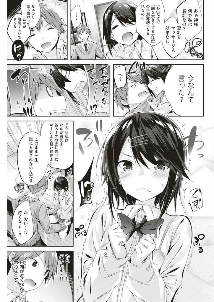 【エロ漫画】貧乳が原因でフラれたと思い込んでるJKにクラスの男が微乳の良さを感度で伝えてどさくさ紛れに処女を奪う!