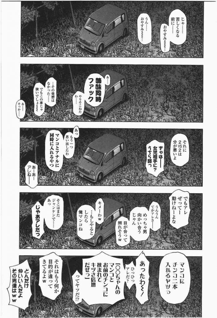 【エロ漫画】大学のオタサーでロリコンのゴミクズ男二人が知り合い意気投合して全国を車で旅しながら少女を拉致り車内女児レイプを繰り返す!