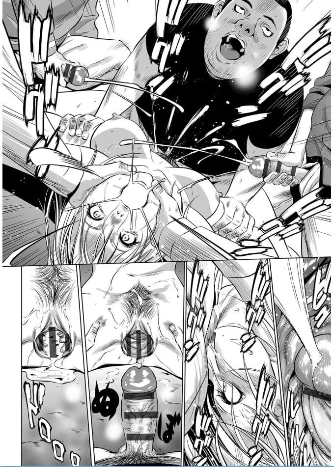 【エロ漫画】痴漢車両に乗ったナイトドレス姿の気の強いキャバ嬢が中年リーマンからセンズリ顔射され集団レイプで種付けされた挙句、眼射される!